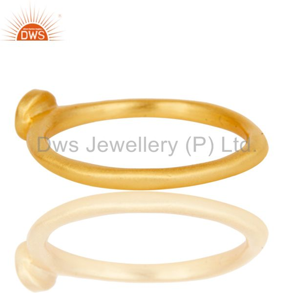 Wholesalers Handmade Simple Setting 18k Gold Plated Sterling Silver Ring with White Topaz