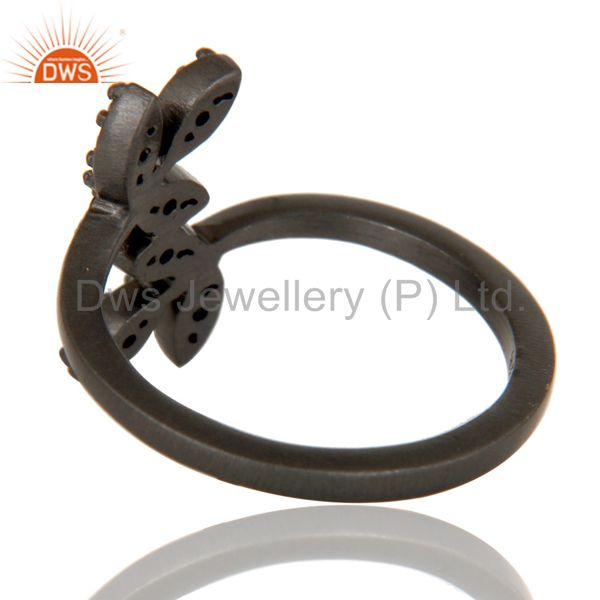 Wholesalers Handmade Flower Design Black Oxidized Sterling Silver Ring with White Topaz