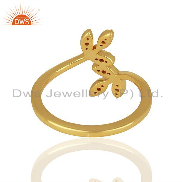 Wholesalers Leaf Design Gold Plated 925 Silver CZ Engagement Ring Jewelry Supplier