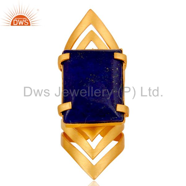 Wholesalers 22K Yellow Gold Plated Handmade Fashion Natural Lapis Lazuli Brass Knuckle Ring