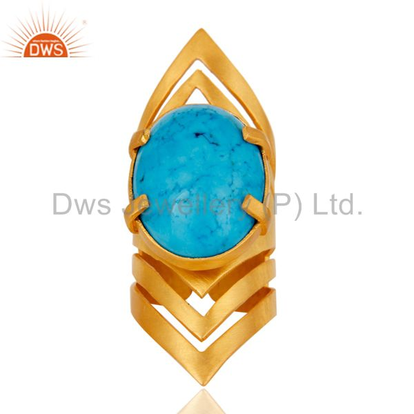 Wholesalers 22K Yellow Gold Plated Handmade Fashion Natural Turquoise Brass Knuckle Ring