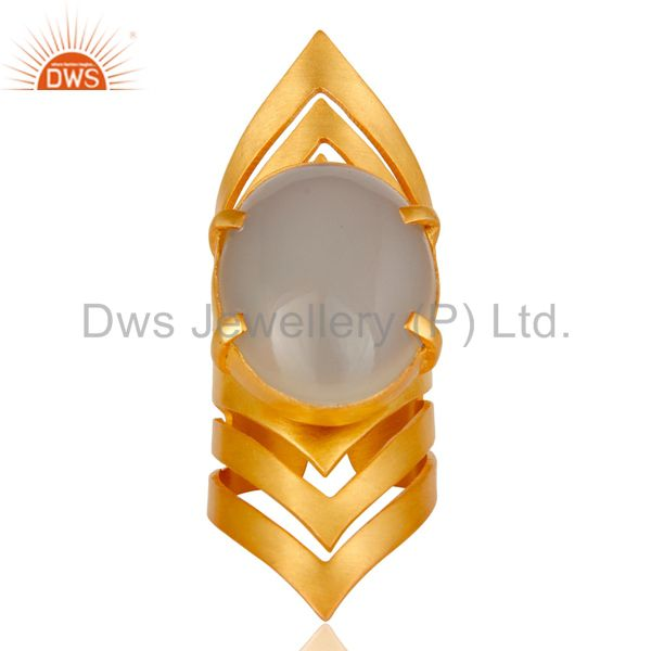 Wholesalers 22K Yellow Gold Plated Handmade Fashion Natural Chalcedony Brass Knuckle Ring
