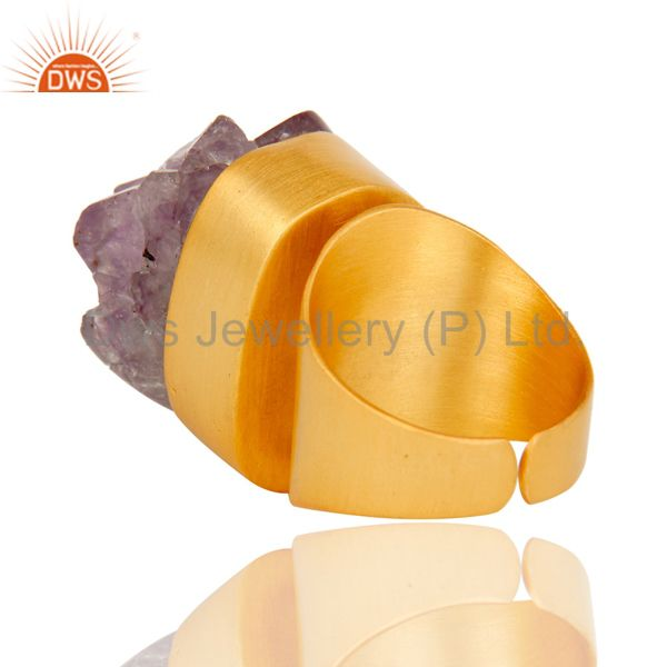 Wholesalers 22K Yellow Gold Plated Handmade Druzy Amethyst Brass Dome Ring Jewellery
