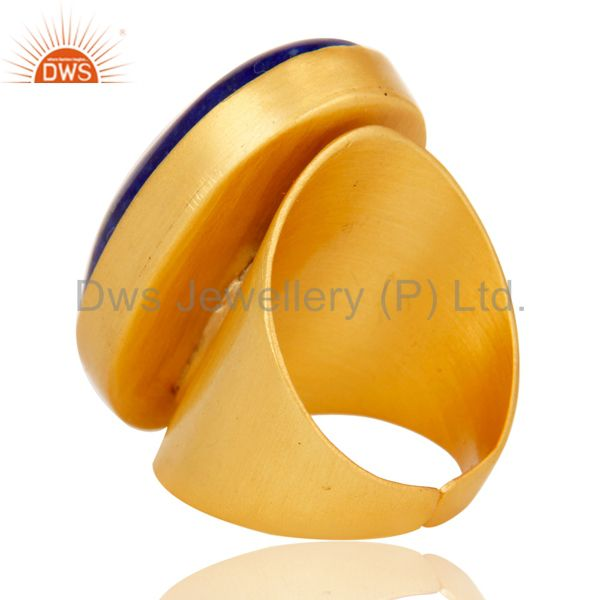 Wholesalers 22K Yellow Gold Plated Handmade Wide Natural Lapis Lazuli Brass Dome Ring