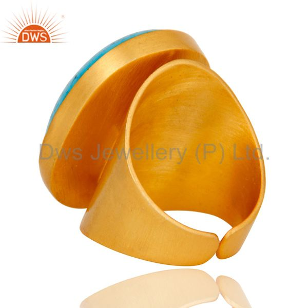 Wholesalers 22K Yellow Gold Plated Handmade Wide Natural Turquoise Brass Dome Ring Jewellery
