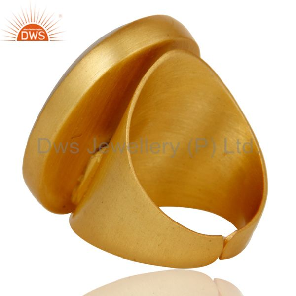 Wholesalers 22K Yellow Gold Plated Handmade Wide Natural Chalcedony Brass Dome Ring
