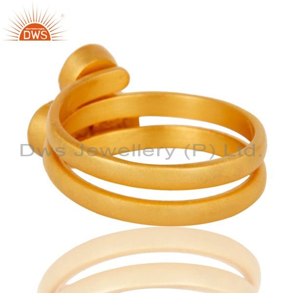 Wholesalers 22K Yellow Gold Plated Handmade Matrix Turquoise Brass Stackable Ring Jewellery