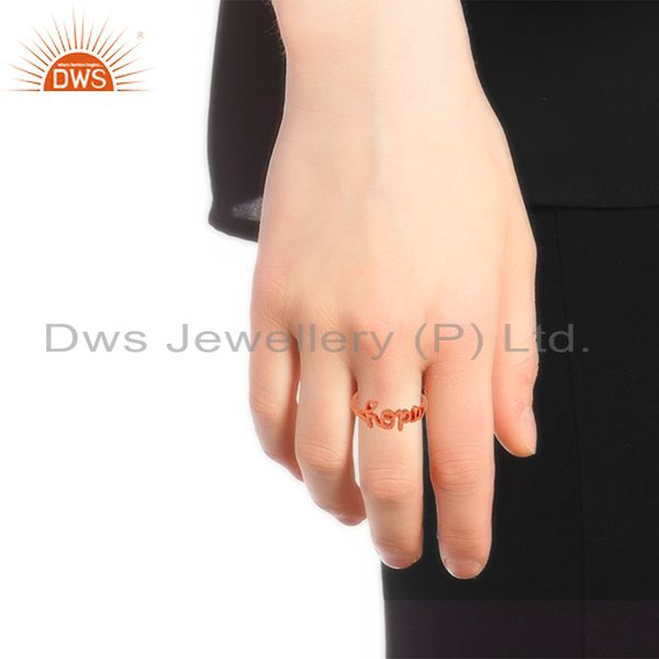 Wholesalers 18K Rose Gold Plated Solid Sterling Silver Cursive Style Font