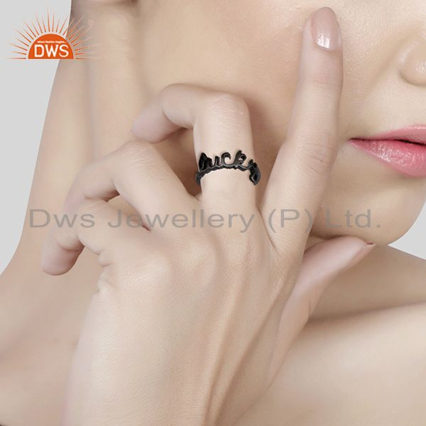 Wholesalers Black Rhodium Plated Sterling Silver Cursive Style