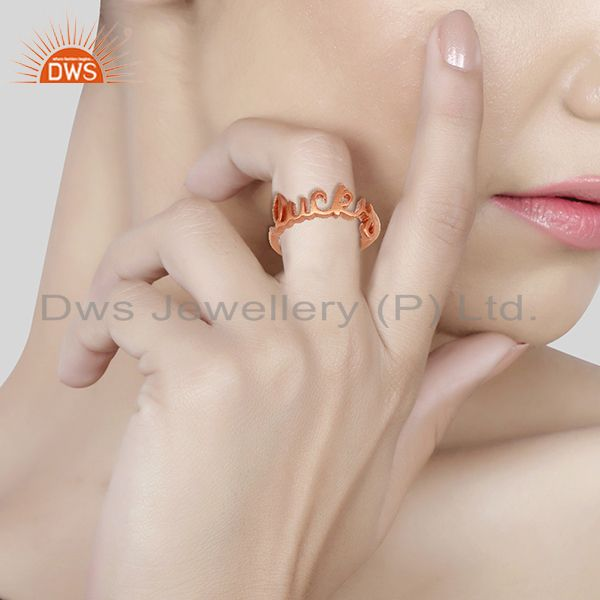 Wholesalers 18K Rose Gold Plated Sterling Silver Cursive Style