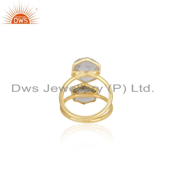 Wholesalers 18K Yellow Gold Plated Sterling Silver Crystal Quartz Split Shank Statement Ring