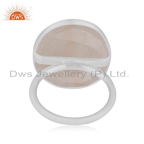 Wholesalers Rose Quartz Gemstone 925 Sterling Fine Silver Statement Ring Manufacturers