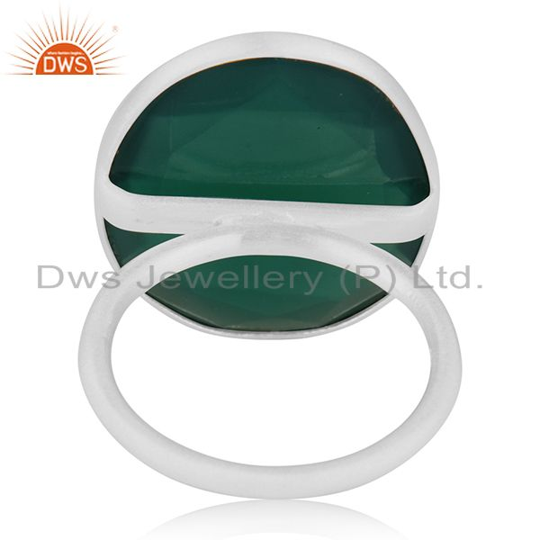 Wholesalers Green Onyx Gemstone 925 Sterling Fine Silver Cocktail Ring Manufacturers