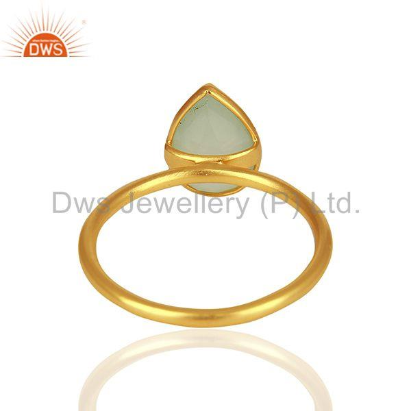 Wholesalers Solid 925 Silver Gold Plated Chalcedony Gemstone Rings Wholesalers