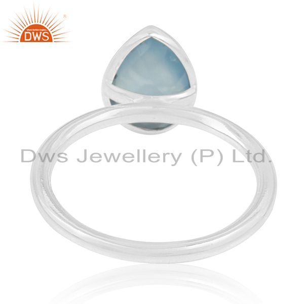 Wholesalers Blue Chalcedony Gemstone 925 Silver Handmade Ring Manufacturer for Private Label