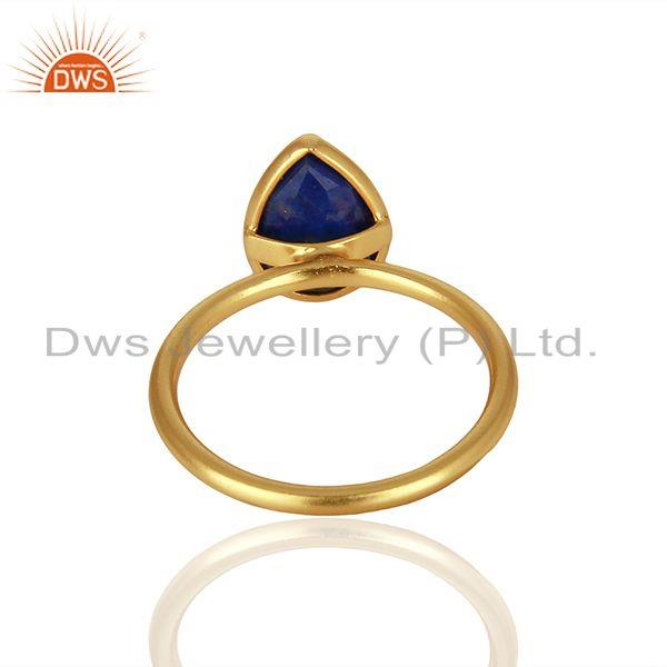 Wholesalers 18K Yellow Gold Plated Sterling Silver Lapis Lazuli Gemstone Drop Stackable Ring