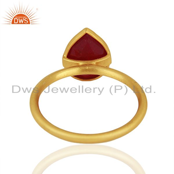 Wholesalers Ruby Red Gemstone Gold Plated 925 Silver Rings Jewelry Manufacturer