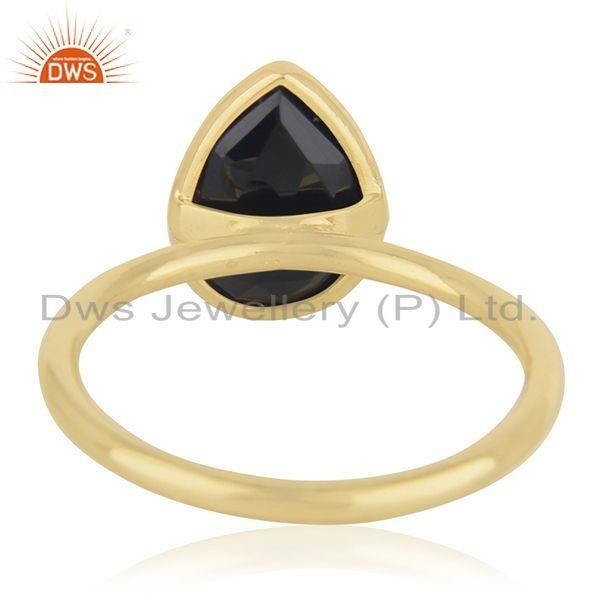 Wholesalers Black Onyx Gemstone 925 Sterling Silver Gold Plated Ring Manufacturer from India