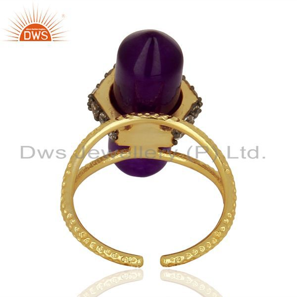 Wholesalers Aventurine Gemstone CZ Gold Plated Fashion Ring Manufacturer Jewelry