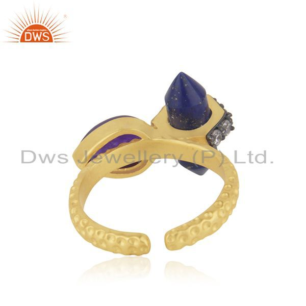 Wholesalers Gold Plated CZ Gemstone Gold Plated Fashion Rings Supplier Jewelry