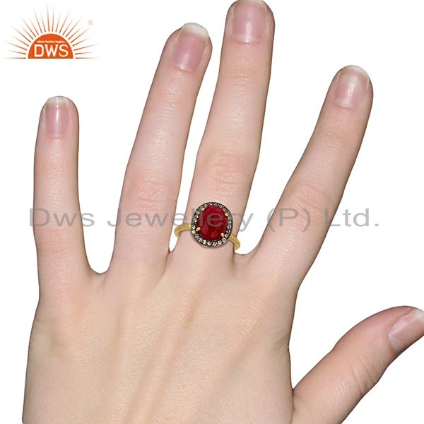 Wholesalers Red Avnturine Gemstone CZ Gold Plated Brass Fashion Ring Supplier