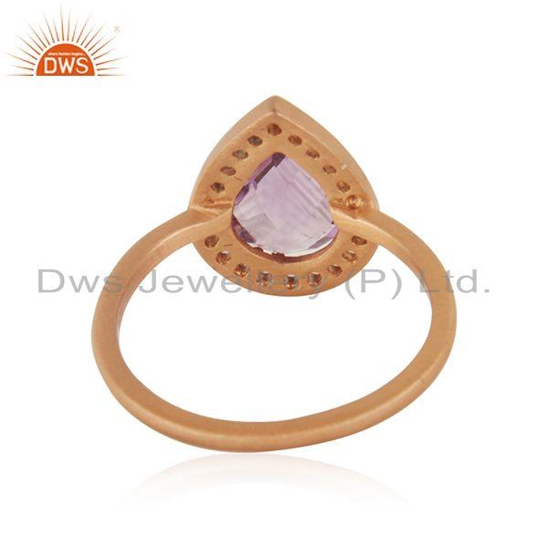 Wholesalers Rose Gold Plated 925 Silver Topaz Amethyst Gemstone Ring Jewelry