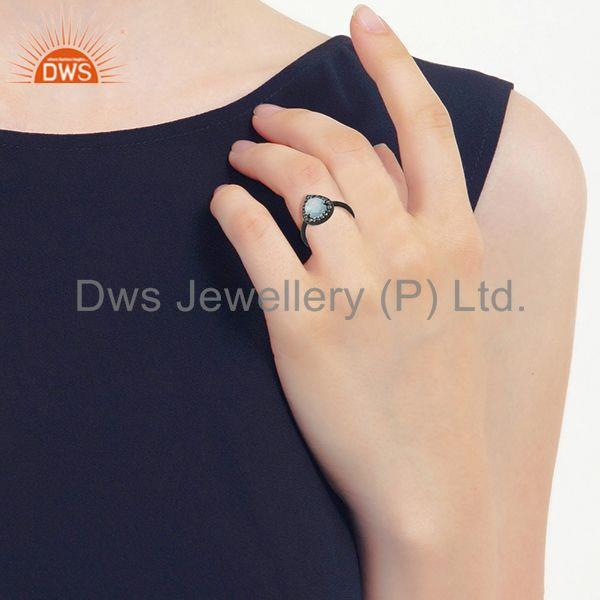 Wholesalers Blue and White Topaz Black Sterling 925 Silver Ring Manufacturer