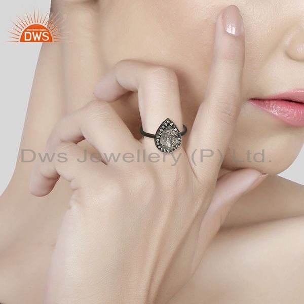 Wholesalers Black Rutile Quartz Gemstone 925 Sterling Silver Girls Rings Jewelry