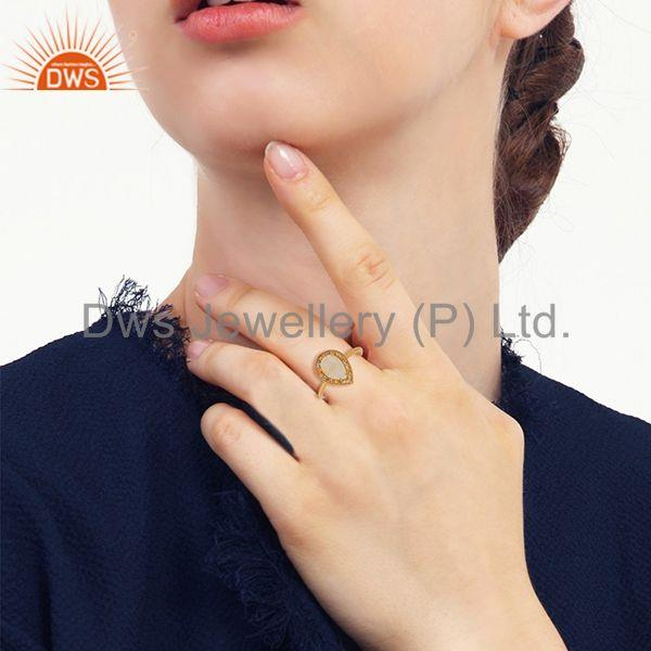 Wholesalers Pear Shape Crystal Quartz Gold Plated 925 Silver Girls Ring Wholesale