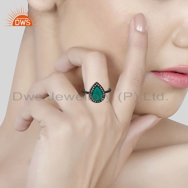 Wholesalers White Topaz and Green Onyx Gemstone 925 Silver Stackable Rings Jewelry