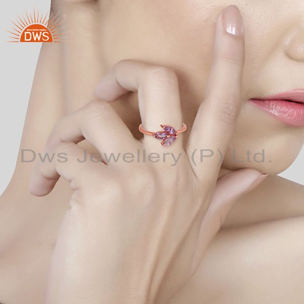 Wholesalers Handmade Rose Gold Plated 925 Silver Amethyst Gemstone Rings Jewelry