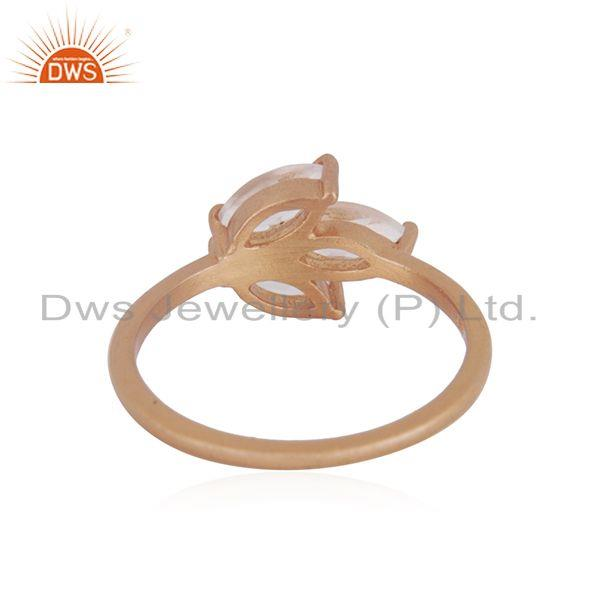 Wholesalers Leaf Rose Gold Plated Silver Crystal Quartz Gemstone Ring Jewelry