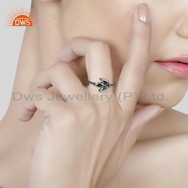 Wholesalers Leaf Design Hematite Gemstone Black Color 925 Silver Rings Jewelry