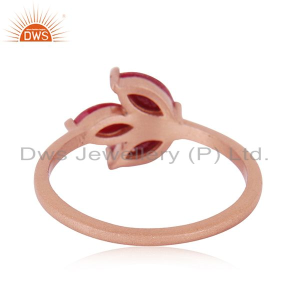 Wholesalers Rose Gold Plated Sterling Silver Ruby Corundum Gemstone Ring Manufacturer India
