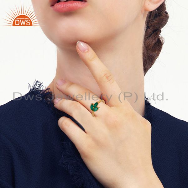 Wholesalers Green Onyx Gemstone 925 Silver Gold Plated Stackable Ring Wholesale