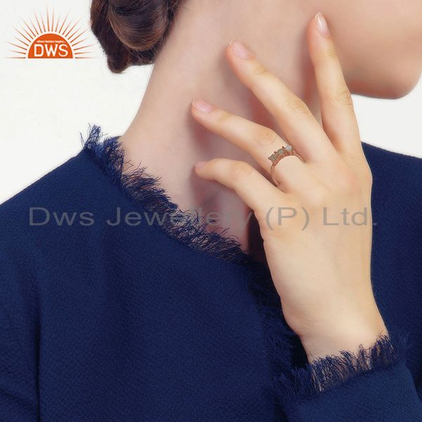 Wholesalers Rose Gold Plated 925 Silver Three Gemstone Rings Manufacturer