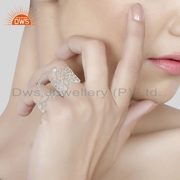 Wholesalers White Rhodium Plated 925 Silver Filigree Design Double Finger Ring