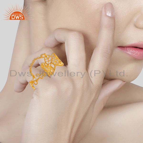 Wholesalers Filigree Design Gold Plated 925 Silver Double Finger Girls Chain Ring
