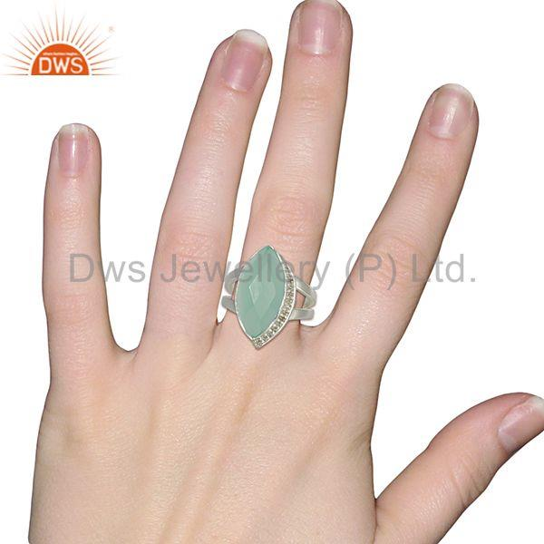 Wholesalers White Topaz Aqua Chalcedony Gemstone Sterling Fine Silver Ring Jewelry