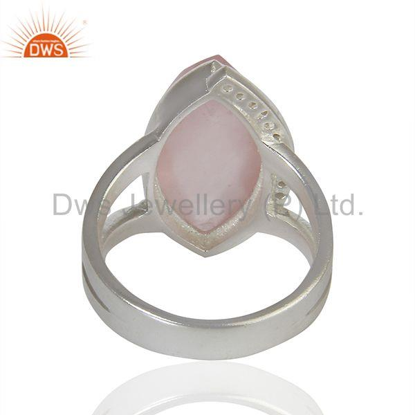 Wholesalers Rose Quartz Gemstone White Topaz Gemstone Sterling Fine Silver Ring