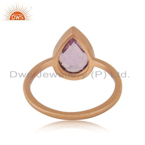Wholesalers Natural Amethyst Birthstone Rose GOld Plated Ring Manufacturer India