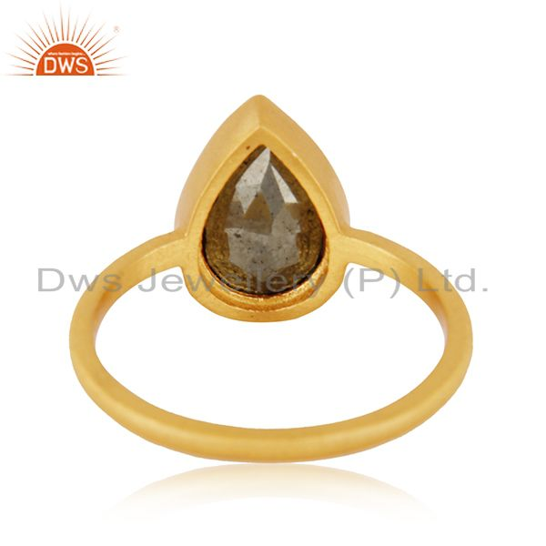 Wholesalers 14k Gold Plated Sterling Silver Pyrite Gemstone Ring Manufacturer INdia