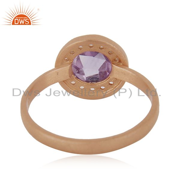 Wholesalers Handmade Rose Gold Plated Sterling Silver Birthstone Amethyst Ring Wholesale
