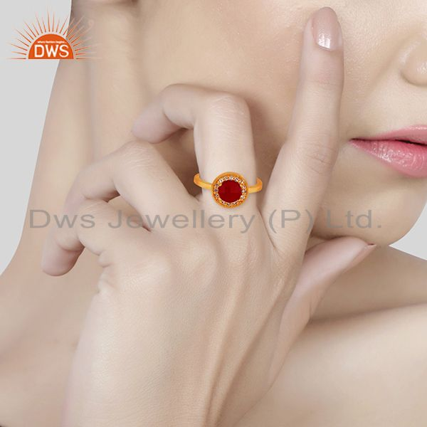 Wholesalers White Topaz and Ruby Gemstone 92.5 Silver Gold Plated Rings Jewelry