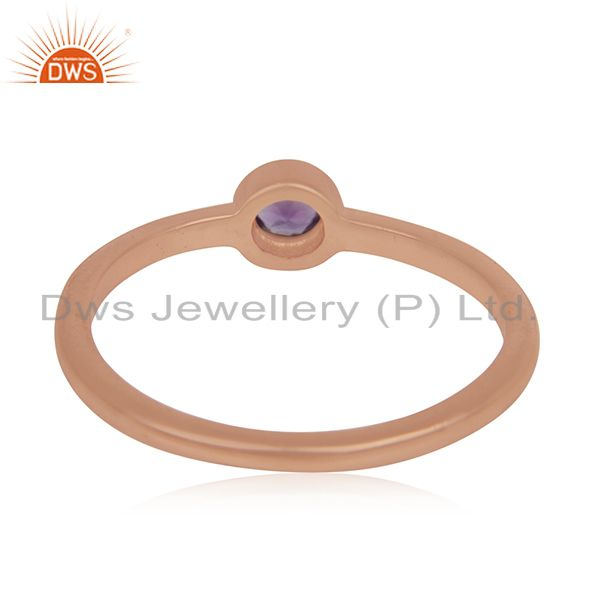 Wholesalers Natural Amethyst Gemstone Rose Gold Plated 925 Silver Ring Manufacturer India