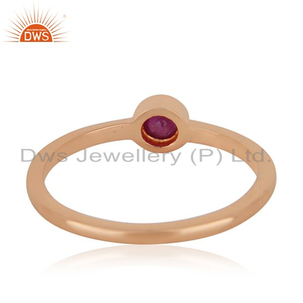 Wholesalers Natural Ruby Gemstone 925 Silver Rose Gold Plated Handmade Ring Manufacturer