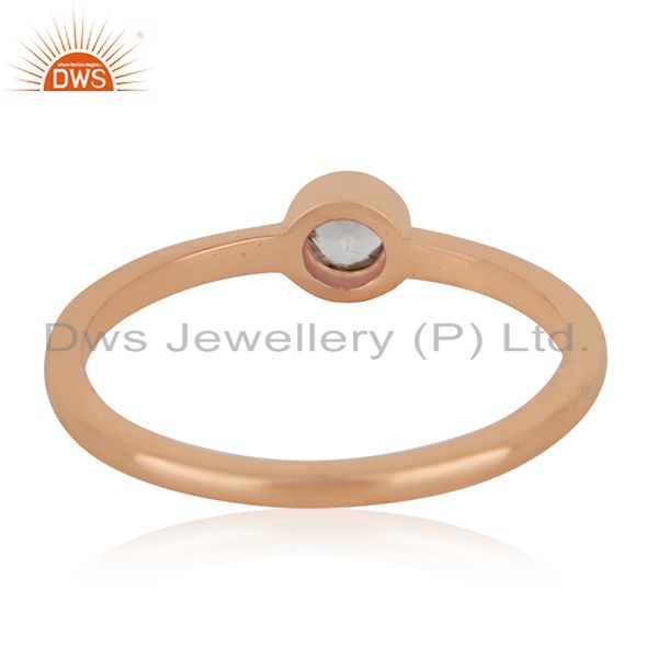 Wholesalers White Topaz Rose Gold Plated 92.5 Sterling Silver Handmade Ring Manufacturers