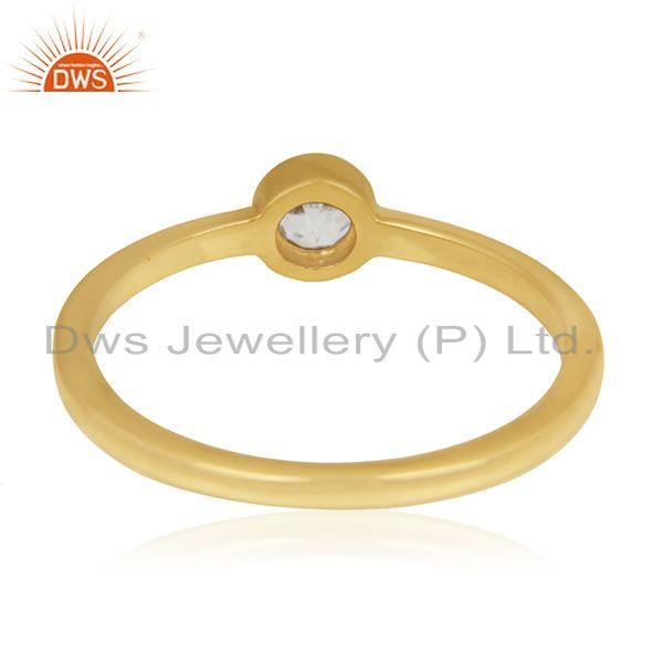 Wholesalers White Topaz Gemstone Sterling Silver Gold Plated Handmade Ring Manufacturer