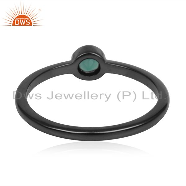 Wholesalers Black Rhodium Plated 925 Silver Gren Onyx Gemstone Handmade Ring Manufacturers