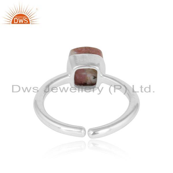 Exporter of Designer handmade solitaire sterling silver ring with rhodonite